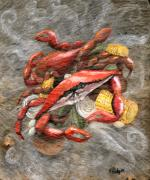 Louisiana Seafood Paintings - Crab Boil by Elaine Hodges