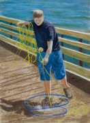 Young Man Pastels Posters - Crab Boy Poster by James Geddes