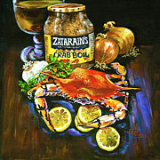 Louisiana Seafood Paintings - Crab Fixins by Dianne Parks