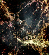 Astrophysics Prints - Crab Nebula Gas Filaments Print by Nasaesastscihubble Heritage Team