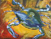 Louisiana Seafood Art - Crab on Cayenne and Mustard by Candace Nalepa