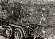 Crab Traps Posters - Crab Traps black and white Poster by Kathleen K Parker