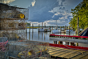 Crabpots And Fishing Boats Print by Williams-Cairns Photography LLC