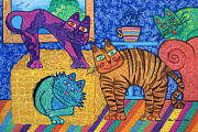 Toy Pastels Posters - Cracked Cats At Home Poster by Lisa Frances Judd