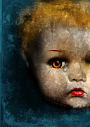 Pout Posters - Cracked Doll Head with Tear Poster by Jill Battaglia