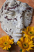 Old Face Prints - Cracked Face and Sunflowers Print by Garry Gay