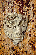 Wall Sculpture Photo Framed Prints - Cracked face Framed Print by Garry Gay