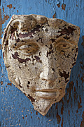 Wall Sculpture Posters - Cracked Face On Blue Wall Poster by Garry Gay