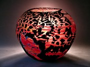 Hand Blown Glass Art Originals - Crackle Bowl by Kyle Kraiter