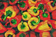 Market Mixed Media - Crackled Peppers by Cathie Tyler