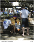 Lahaina Digital Art Prints - Craftsman in Banyan Tree Park Print by Joseph Vittek
