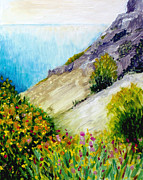 St.tropez Paintings - Crags and wildflowers of Monaco by Hilary England
