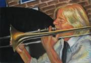 Trombone Painting Originals - Craig at Palm Court by Beverly Boulet