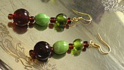 Science Fiction Jewelry - Cranberry and Bright Sea Green Drop Earrings by Dancing StarInc