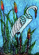 Blue Wings Glass Art Prints - Crane Print by Farah Faizal