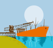 Ship Illustration Framed Prints - Crane Loading A Ship Framed Print by Aloysius Patrimonio