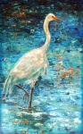 Blues Painting Originals - Crane Reflection by Linda Olsen
