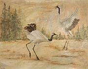 Cranes Mixed Media Prints - Cranes 2 Print by Sandy Clift
