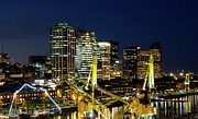 Buenos Aires Framed Prints - Cranes And Building At Night In Puerto Madero Framed Print by Photo by Jim Boud
