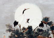 Cranes Mixed Media Prints - Cranes and Moon Print by Masako Van Leijenhorst