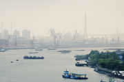 Blue Collar Framed Prints - Cranes and River Traffic on Huangpu River Framed Print by Jeremy Woodhouse