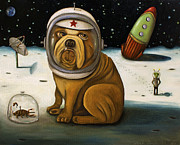 Star Pug Framed Prints - Crash 2    Not Again Framed Print by Leah Saulnier The Painting Maniac