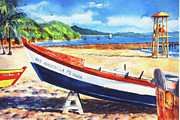 Puerto Rico Paintings - Crash Boat Beach by Estela Robles
