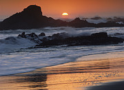 California Big Wave Surf Prints - Crashing Surf On Rocks At Sunset Point Print by Tim Fitzharris