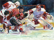 Hockey Painting Posters - Crashing The Net Poster by Gordon France