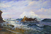 Oceans Paintings - Crashing Waves at La Jolla by Lewis A Ramsey