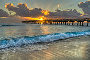 Piers Prints - Crashing Waves at Sunrise Print by Debra and Dave Vanderlaan