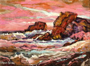 Locations Painting Prints - Crashing Waves At Sunset  Majestic Seascape Print by Carole Spandau