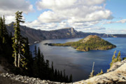 Mystery Prints - Crater Lake - Intense blue waters and spectacular views Print by Christine Till