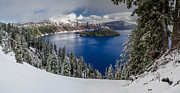 Crater Lake Panorama Posters - Crater Lake and Fresh Snow Panorama Poster by Greg Nyquist