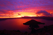 Crater Lake Sunset Photos - Crater Lake Fire In The Sky by Adam Jewell