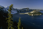Crater Lake View Framed Prints - Crater Lake From Inspiration Point Framed Print by Phil Schermeister
