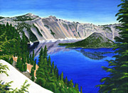 Crater Lake Paintings - Crater Lake Oregon by Colleen Ward