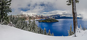 Crater Lake Framed Prints - Crater Lake Panorama 1 Framed Print by Greg Nyquist