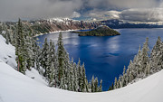 Crater Lake Prints - Crater Lake Panorama 2 Print by Greg Nyquist