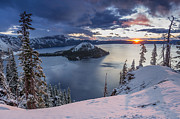 Crater Lake Framed Prints - Crater Lake Snow Sunrise Framed Print by Greg Nyquist