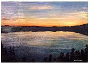 Mono Mixed Media Prints - Crater Lake Sunrise Print by Bob Senesac