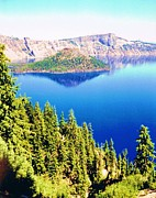 Crater Lake Paintings - Crater Lake Volcano  by Peggy Leyva Conley