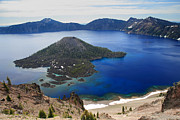 Crater Lake National Park Prints - Crater Lake Wizard Island Print by Pierre Leclerc