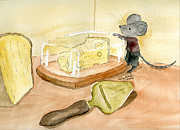 Mice Drawings Posters - Craving Cheese Poster by Eva Ason