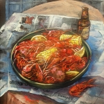 Square Prints - Crawfish Celebration Print by Dianne Parks