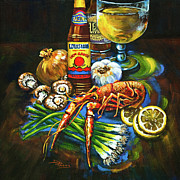 Crawfish Posters - Crawfish Fixins Poster by Dianne Parks