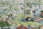 River Banks Paintings - Crayfishing by Carl Larsson