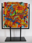 Red Glass Art Originals - Crayola No.2 by Mark Lubich