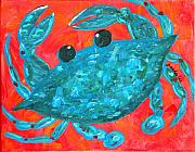 Alabama Painting Posters - Crazy Blue Crab Poster by JoAnn Wheeler