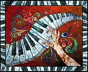 Featured Tapestries - Textiles Metal Prints - Crazy Fingers- Piano Keyboard - Bordered Metal Print by Sue Duda